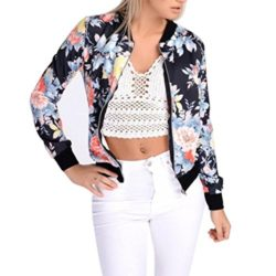 AFCastle Fetching Women Floral Print Bomber Jacket Long Sleeve Blazer Suit Casual Jacket Coat