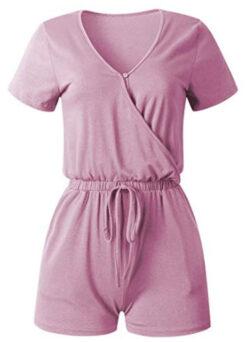 ANRABESS Women Jumpsuits Summer Loose Deep V Neck Short Sleeve Elastic Waist Romper Playsuits wi ...