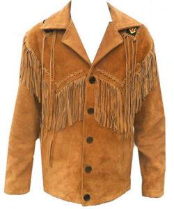 Bestzo Men's Western Cowboy Fringed & Beaded Suede Leather Jacket Brown