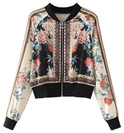 Betusline Women's Fashion Floral Printed Baseball Bomber Jacket Coat