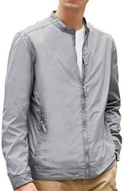 BEVERRY Men's Lightweight Casual Slim Fit Jacket Collarless Coats Zip Up Windbreaker, gray