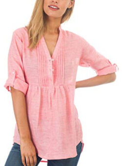 CAMIXA Women's Linen Popover Casual Chic Tunic Shirt Relaxed Blouse Top, pink coral