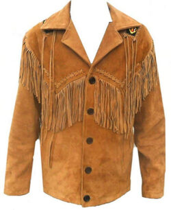 Celebrita X Style Men's Cowboy Leather Coat fringed and Beads Suede Brown