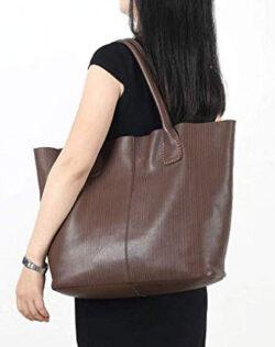 CHERRY CHICK Women's Large Soft Genuine Cowhide Tote Bag Shoulder Bag Big Purse (Coffee-8067)