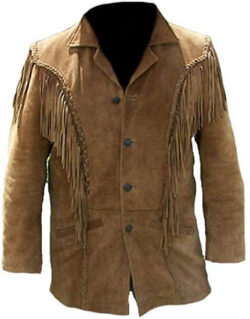 Classyak Men's Western Fringed Suede Coat, brown
