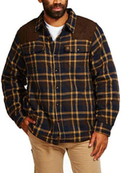 Coleman Sherpa-Lined Flannel Shirt Jacket with Faux Suede Shoulder Patches, brown navy