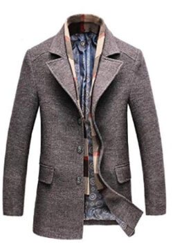 Cromoncent Men's Padded Overcoat Button Business Wool Blend Coat Jacket