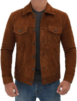 Decrum Mens Suede Jacket – Genuine Leather Suede Jacket for Men