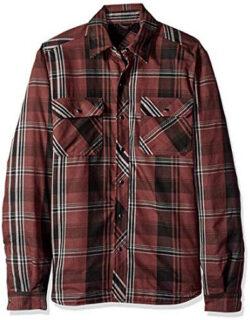 Dickies Men's Modern Fit Snap Front Shirt Jacket, cave black plaid