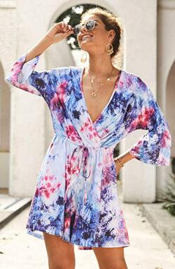 ECOWISH Women's Summer Deep V Neck Tie Dye Print Romper 3/4 Sleeve Loose Floral Short Jump ...