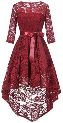 RTYou Elegant Dress for Women,Long Sleeve Formal Ladies Wedding Bridesmaid Lace Long Dress, red