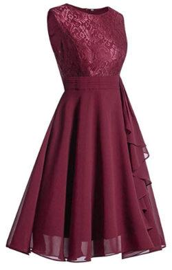 Elegant Women Dress,Ladies Girls Sleeveless Formal Ladies Wedding Bridesmaid Lace Long Dress, red