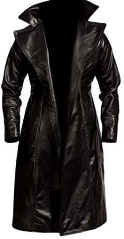 Fashionistz Mens Leather Trench Coat Slim Fit | Long Leather Trench Coat Men – Genuine Lea ...