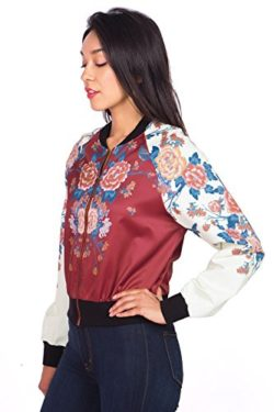 Flying Tomato Women's Exotic Floral Print Bomber Jacket