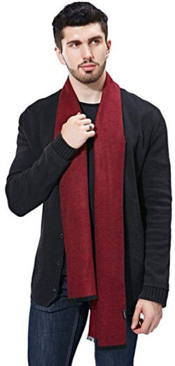 FULLRON Men Cashmere Scarf Silky/Warm – Cotton Scarves for Winter wine red / black