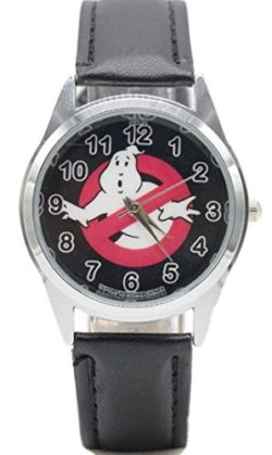 Ghostbusters Movie No Ghosts Logo Black Leather Band Wrist Watch by Main Street 24/7