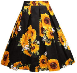 Girstunm Women's Pleated Vintage Skirt Floral Print A-line Midi Skirts with Pockets, sunfl ...