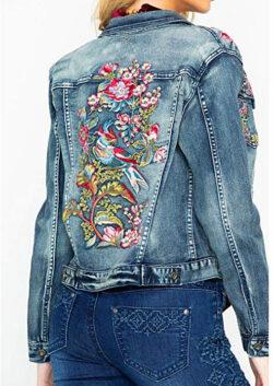 Grace in LA Women's in Floral Embroidered Denim Jacket, indigo