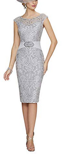 Graceprom Women's Knee Length Mother of The Bride Dresses with Jacket Lace Evening Gowns,  ...