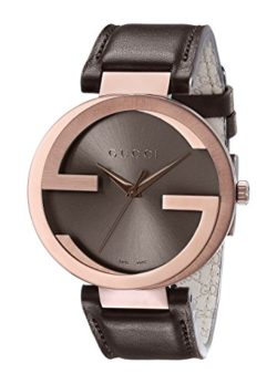 Gucci Interlocking Iconic Bezel Rose Gold-Tone Men's Watch with Brown Genuine Leather band
