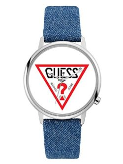 GUESS Originals Silver-Tone and Denim Logo Watch