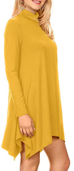 High Low Long Sleeve Turtleneck Swing Dresses for Women Plus Size and Reg. – Made in USA