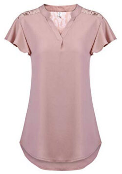 Hount Women's V Neck Chiffon Ruffle Short Sleeve Shirts Casual Lace Blouse Tops, pink