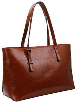 Iswee Womens Leather Shoulder Handbag Tote Bag, brown