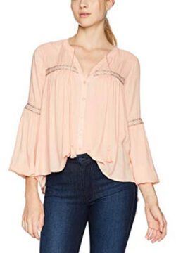 Jack Women's Arya Solid Peasant Top with Ribbon Trim, coral pink