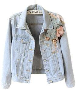 JACKSWER Women's Floral Embroidered Long Sleeve Casual Short Denim Jacket light blue