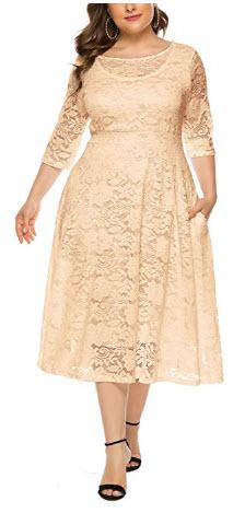 JFP JUST FOR PLUS Women Lace Round Neck High Waist Plus Size Midi Dress