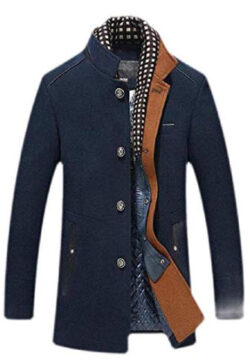 Jhsxydgy Men Casual Single Breasted Stand Collar Thicken Wool-Blended Pea Coat