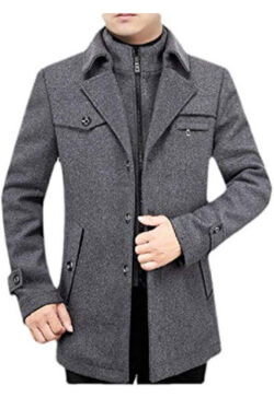 Jhsxydgy Men's Winter Lapel Neck Zip-Up Wool Blend Coat Jacket with Pocket