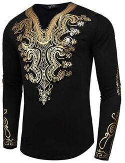 JINIDU Men's African Dashiki Shirt Metallic Floral Printed Tops Blouse pat1