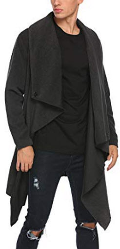 JINIDU Men's Wool Overcoat Irregular Long Shawl Collar Cardigan Jacket Business Winter Tre ...