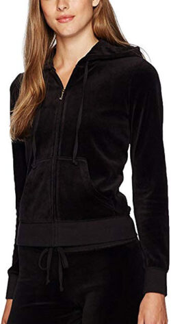 Juicy Couture Black Label Womens Velour Robertson Jacket pitch black