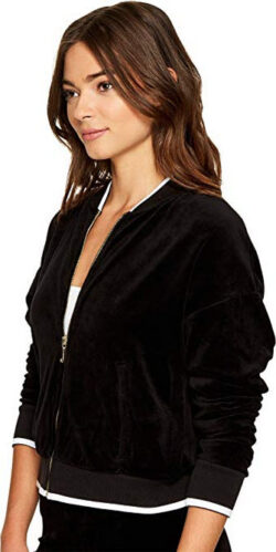 Juicy Couture Womens Velour Ruched Sleeve Jacket pitch black