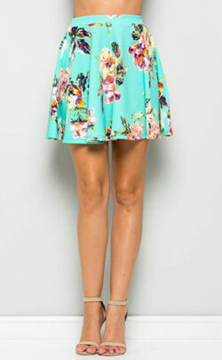 Junky Closet Women's Basic Stretchy Flared Casual Mini Skater Skirt, mint floral