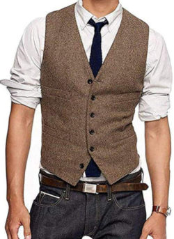 JYDX Men's Brown Wool Herringbone Groom Vest