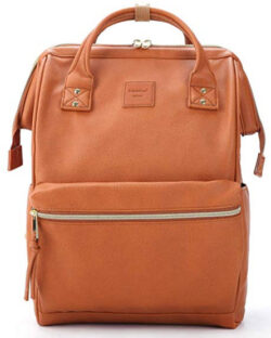 Kah&Kee Leather Backpack Diaper Bag with Laptop Compartment Travel School for Women Man (Cam ...