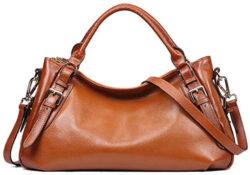 Kattee Women's Genuine Leather Hobo Shoulder Bag, sorrel