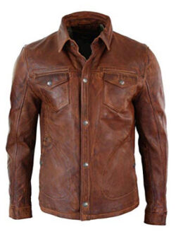 King Leathers Men's Genuine Lambskin Real Leather Shirt Stylish Black Biker Shirt Jacket
