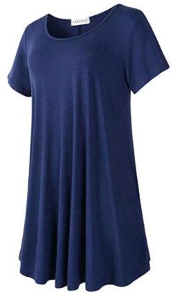LARACE Women's Short Sleeve Swing Tunic Casual Pockets Loose T Shirt Dress