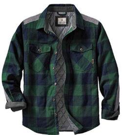 Legendary Whitetails Men's Woodsman Heavyweight Quilted Flannel Shirt Jacket, evergreen plaid