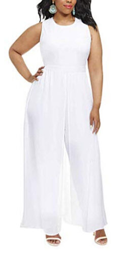 Linsery Women's Elegant Sleeveless Long Pants Chiffon Overlay Jumpsuits Rompers, white