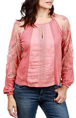 Lucky Brand Women's Large Lace Illusion Knit Top, pink