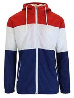 Men's Lightweight Full-Zip Hooded Windbreaker Jacket Rain Jacket Water Resistant Shell, re ...
