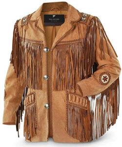 M Star Men's Traditional Cowboy Western Leather Jacket Coat with Fringe