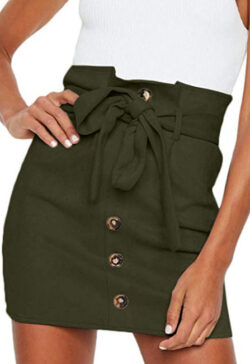 Meyeeka Women's Paperbag High Waist Button Trim Front Belted Faux Suede Mini Skirt