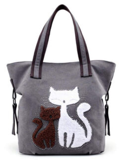 MIFXIN Women Canvas Shoulder Bag,Lovely Cat Bag Casual Handbag Shopping Bag Travel Beach Tote B ...